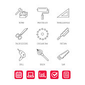 Scissors, paint roller and repair tools icons. Fretsaw, circular saw and brush linear signs. Triangular rule, drill icons. Report document, Graph chart and Calendar signs. Laptop and Check web icons