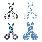 Scissors vector outline icon set. Office supply line symbols and pictograms. Vector thin contour infographic elements. Illustrations for web design, presentations, networks.