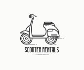 Scooter rental service type. Small motorcycle or moped label vector illustration isolated on white background. Motorbike rentals  in thin line design.