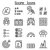 Score icon set in thin line style