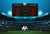 scoreboard and spotlight with stadium background vector illustration