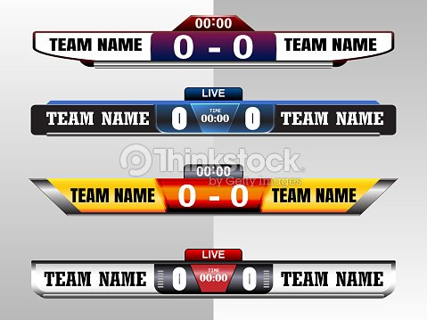 scoreboard digital screeen graphic template for broadcasting of
