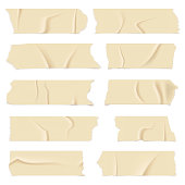Adhesive tape. Old paper scotch tapes, masking sticky pieces realistic strips. Isolated vector illustrations set