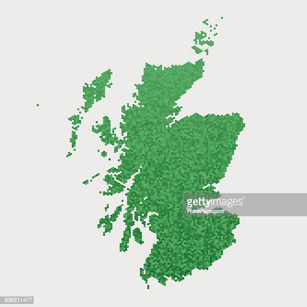 Scotland Map Green Hexagon Pattern