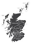 Scotland Map labelled black illustration