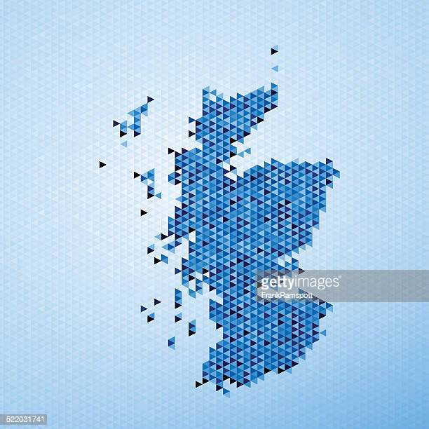 Scotland Map Triangle Pattern Blue