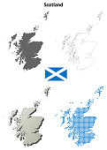 Scotland blank detailed vector outline map set