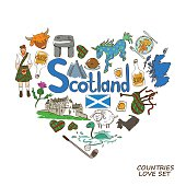 Colorful sketch collection of Scottish symbols. Heart shape concept. Scotland travel background.
