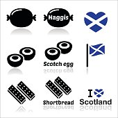 Vector icons set of food from Scotland isolated on white
