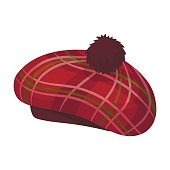 Scottish traditional cap icon in cartoon design isolated on white background. Scotland country symbol stock vector illustration.