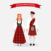 Scottish traditional clothes people. Culture scotland, clothing tradition, kilt skirt, costume uniform, person in national dress, scotsman and tartan, celtic and highlander illustration
