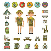 Scout boy and girl showing honor hand gesture and necessary equipment set and signs around vector colorful poster. Summer camping children