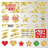 Scratch marks. Suitable for scratch card game and win. Gold colored. Vector