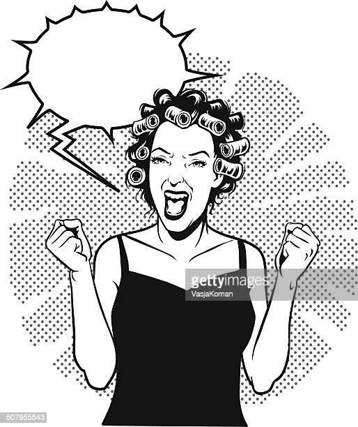 Screaming Retro Woman With Speech bubble