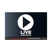 screen with live play button icon, vector illustration