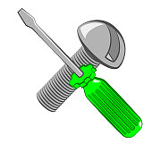 Screwdriver and screw. Cartoon style. Isolated on white Vector