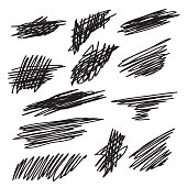 Scribble brush strokes set, vector symbol design element