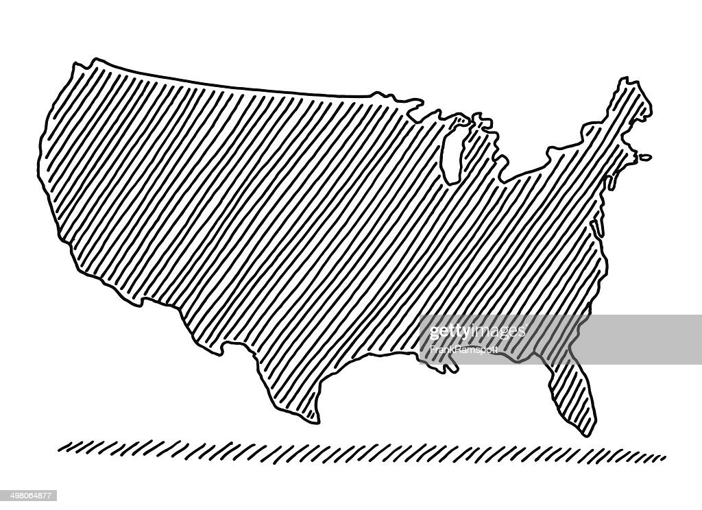 Scribble Map Usa Drawing Vector Art Getty Images - Drawing of usa map