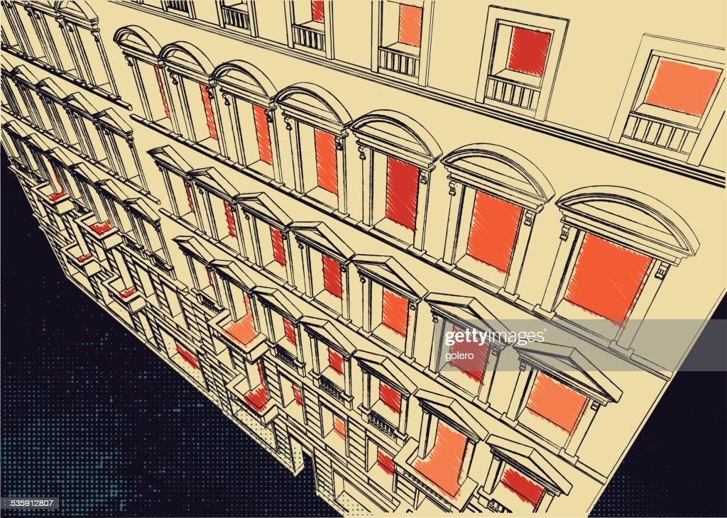 scribble of historic facade : Vector Art