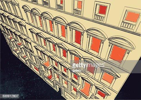 Rabisco de fachada histórico : Arte vetorial