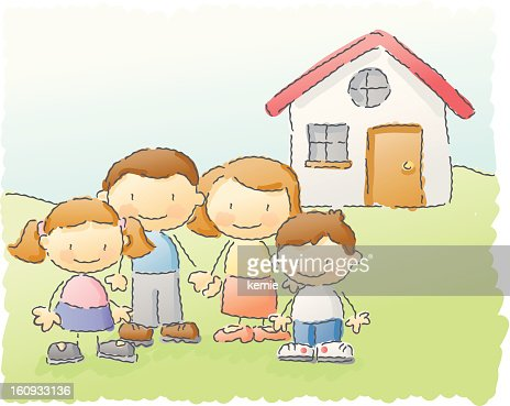 scribbles: family home : Vector Art