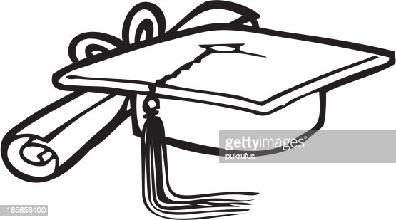Scroll And Mortar Board As Line Art Vector Art   Getty Images