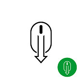 Scroll down computer mouse black icon. Design element for web landing pages.