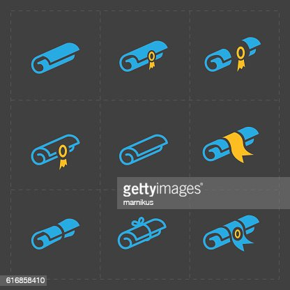 Scrolls icons with ribbon on Dark Background : Vector Art