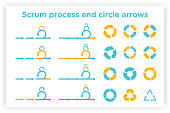Scrum info graphic diagram element vector set illustration. Agile diagram, recycle symbol and circle chart element collection. Group of blue and orange symbols for scrum methodology info graphic