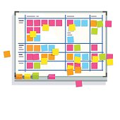 Scrum task board whiteboard hanging in a team room full of tasks on sticky note cards. Scrum board story test driven development process. Flat style color modern vector illustration.
