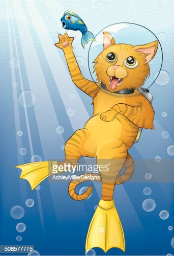 Scuba Cat : Vector Art