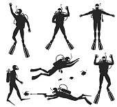 Scuba diver silhouettes. Diving silhouettes on white background.  Speargun and water sport, people diving sea. Vector illustration
