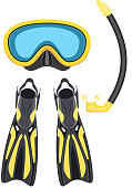 scuba mask and snorkel, diving flippers isolated on white background, Vector illustration in flat style