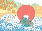 Sea and auspicious illustration of Mount Fuji
