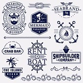 Set of sea and nautical typography badges and design elements. Templates for company emblems or web decoration. Marine cruise, beach resort, seafood bar, shipbuilding and other themes. Vector collecti