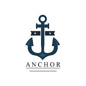 Sea and nautical decoration isolated on white background. Marine of element for company logo, business identity anchor retro badge and web decor or other design. Vector nautical logo.