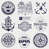 Set of sea and nautical typography badges. Collection of vector templates for company emblems, business identity or web design. Sailing cruise, yachting, resort hotel, navigation and other themes.
