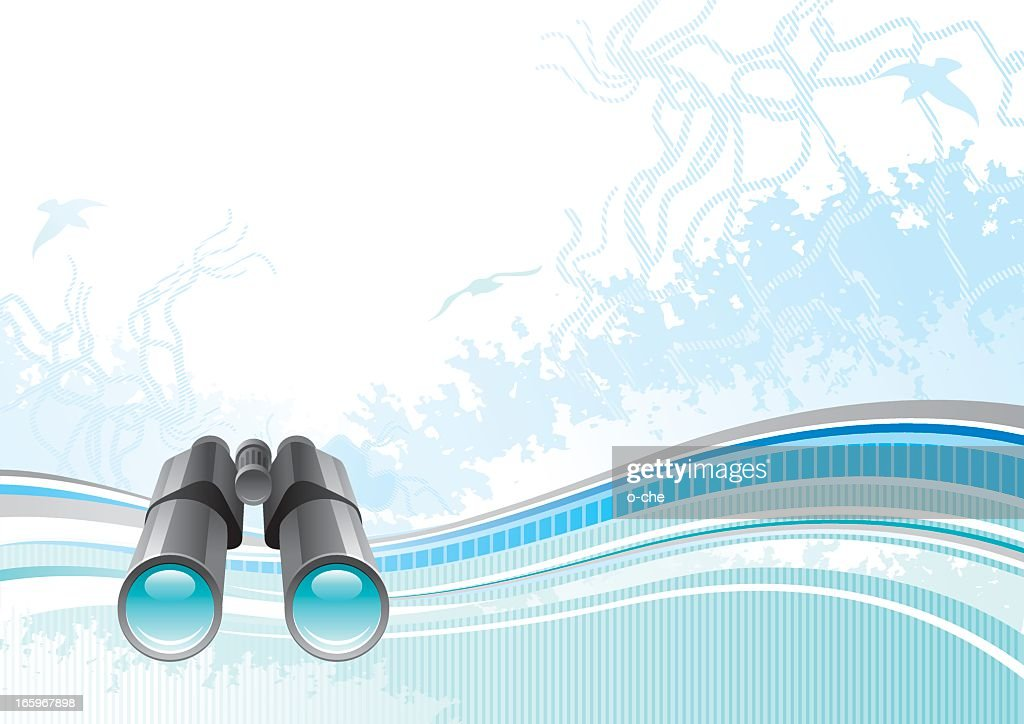 Sea background with net and seagulls: binoculars : Vector Art