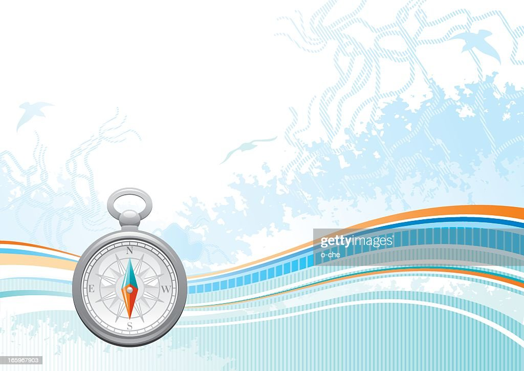 Sea background with net and seagulls: compass : Vector Art