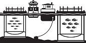 Sea cage fish farming - vector illustration