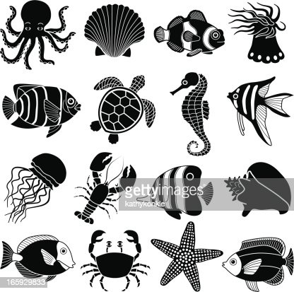 Sea Creatures Icons Vector Art | Getty Images