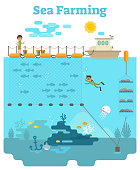 Sea Farming - Aquaculture concept illustration with growing fish and other sea products underwater