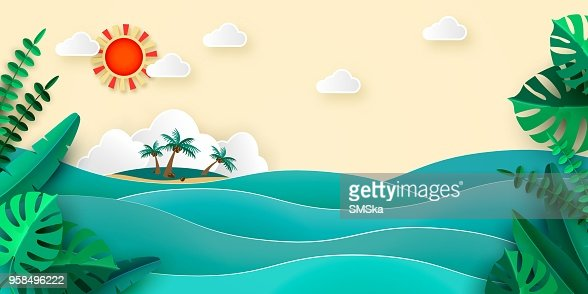 Sea island palm tropical leaves sun clouds in papercut style. Advertising banner for promotion travel services Vector illustration : stock vector