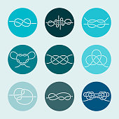 Vector Icons of Sea Knot Collection. Editable stroke design elements for seafood restaurant menu. Set of symboltypes templates for climbing, rope access, yacht club and insurance firm.