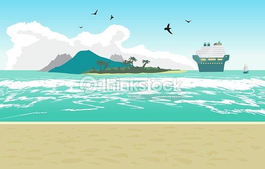 Sea landscape summer beach, cruise ship