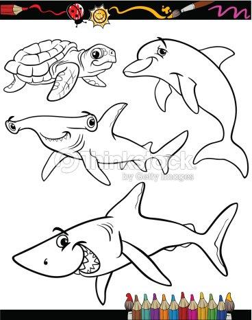 Vida Marina De Animales De Dibujos Animados Libro Para Colorear Arte ...