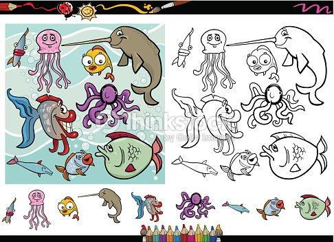 Meer leben cartoon coloring pageset vektorgrafik thinkstock - Colorazione pagine animali zoo ...