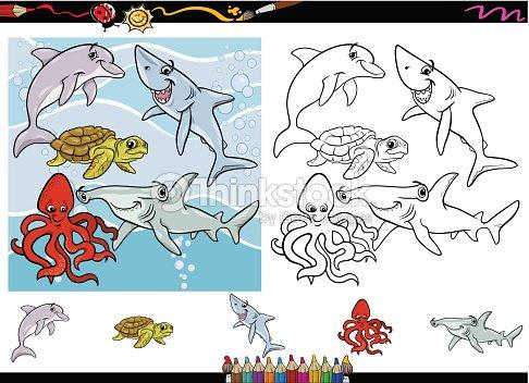 Vida Marina De Historieta Colorear Página De Arte vectorial   Thinkstock