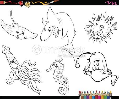 Página Para Colorear De Historieta De Vida Marina Arte vectorial ...