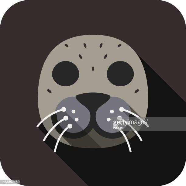 Sea lion animal face flat design